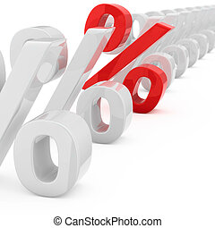 Profitable interest rate - Red percentage symbol in a row of...