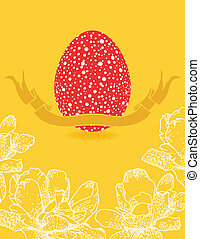easter card with flowers and red egg