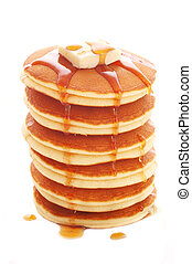 delicious pancakes - stack of pancakes isolated on white...