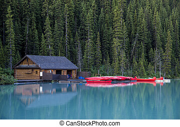 Boathouse and canoes, Banff National Park - Boathouse and...