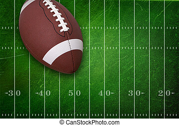 College football on grunge field background - College...