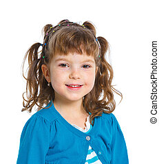 Young girl - Closeup portrait of cute happy girl Isolated on...