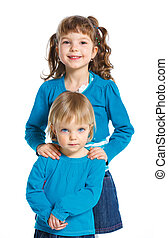 Happy Sisters - Two happy cute sisters. Isolated white...