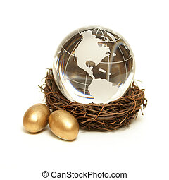 Global Wealth Concept - The world rests in the nurture of a...