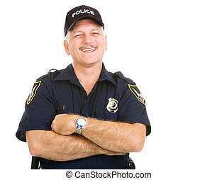 Police Officer Laughing - Happy, laughing police officer...