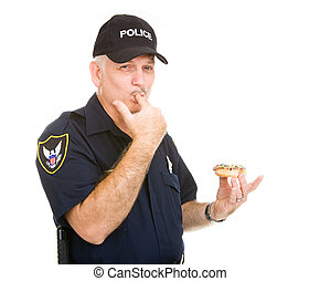 Policeman Licking Fingers