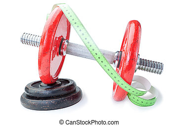 Meter for measurements on dumbbells for fitness. On a white...
