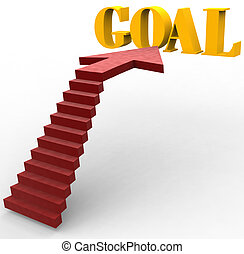 Stairway steps raise up to Goal - Red carpet stairs up to...