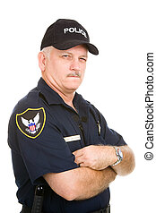 Police Officer - Suspicious - Mature police officer with a...