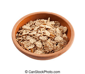Wholemeal cornflakes on white background