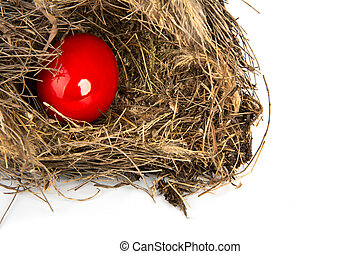 Colorful Easter eggs in a nest from branches on  white background