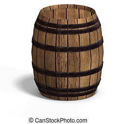 wooden barrel - rendering of a wooden barel With Clipping...