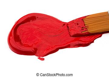 vermelho, acrílico, pintura
