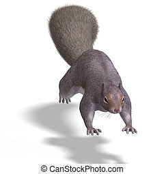 Squirrel 3D Render - Rendering of a cute Squirrel with...