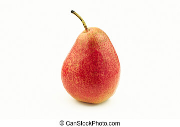 One red pear - One delicious red pear on white background