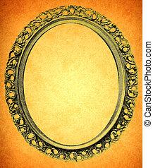 Vintage circle frame on old paper