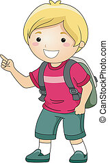 Student Boy Pointing Finger - Illustration of a Smiling...