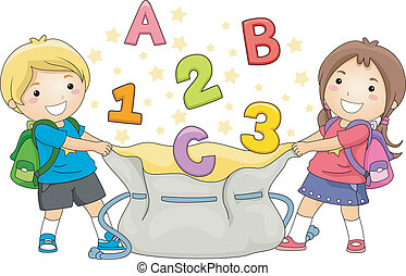 Kids Catching ABC's and 123's - Illustration of Boy and Girl...