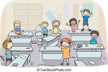 Stick Kids in Messy Classroom - Illustration of Stick Kids...