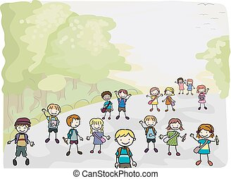 Stick Kids going to School - Illustration of Stick Kids on...