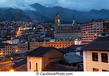 Quito, Ecuador at Night - Night view of the historical...