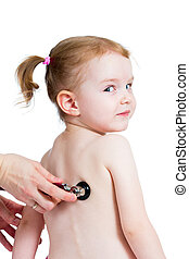Pediatric doctor examining kid girl with stethoscope isolated on white