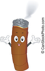 Lighted Cigar with Smoke Mascot - Illustration of a Lighted...