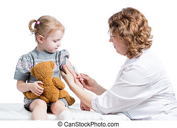 doctor vaccinating kid isolated on a white - doctor...