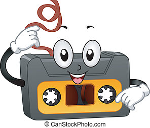 Retro Casette Tape Mascot - Illustration of a Retro Casette...
