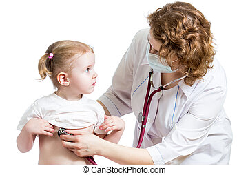 doctor examining kid girl isolated on white