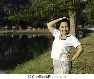 healthy middle aged woman