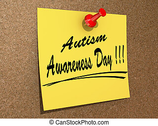 Autism Awareness Day - A note pinned to a cork board with...