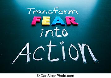 transformar, miedo, acción, concepto