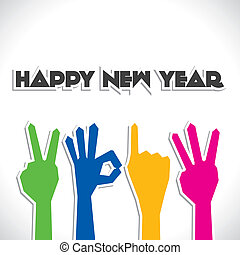 hand finger show new year 2013 stock vector
