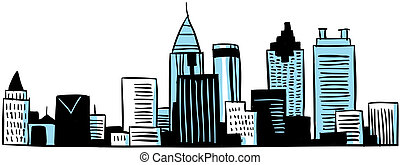 Cartoon Atlanta - A cartoon skyline of the city of Atlanta,...