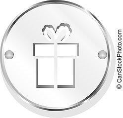 PRESENTE, caixa, metal, botão