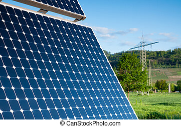 Solar Panel With Green Landscape Against The Blue Sky