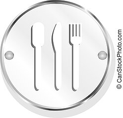 metal icon with spoon, knife and fork on button