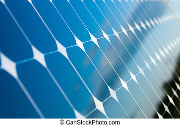 Solar Panels - Blue Sky is reflected on the solar panels