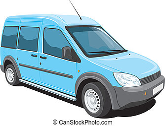 Minivan - Vector isolated minivan cargo and passenger on...