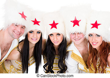 smiling dancer team wearing a cossack costumes - smiling...