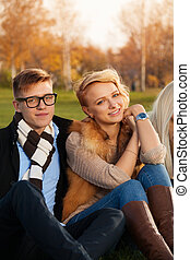 Lovely young students couple
