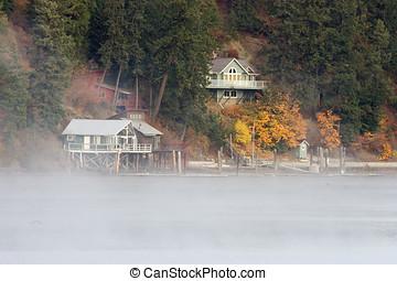 Fog on lake.
