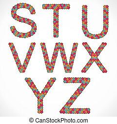 flower alphabet S,T,U,V,W,X,Y,Z