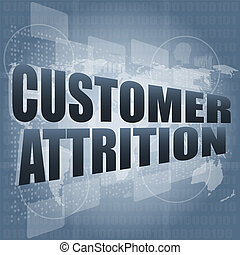 customer attrition words on digital screen with world map