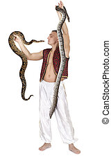 Man with snakes - Young Caucasian man in Eastern costume...