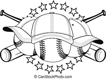 balls in hats - Vector illustration baseball balls in hats...