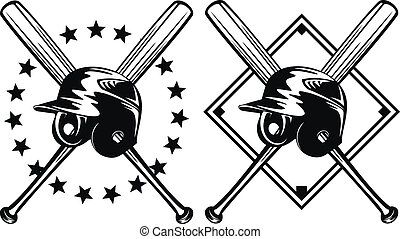 baseball helmet and crossed bats - Vector illustration...