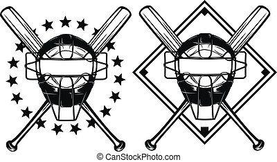 baseball mask and crossed bats - Vector illustration...