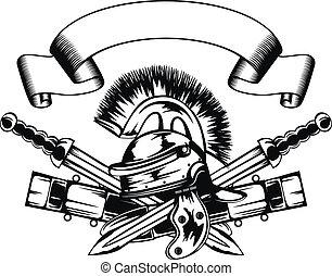 helmet and swords - Vector illustration legionary helmet and...